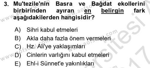 Kelam´a Giriş Dersi 2016 - 2017 Yılı (Final) Dönem Sonu Sınav Soruları 3. Soru