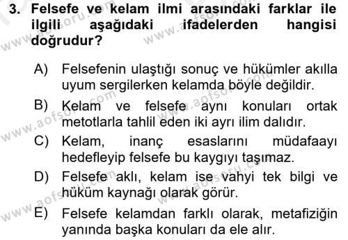 Kelam´a Giriş Dersi 2017 - 2018 Yılı (Vize) Ara Sınav Soruları 3. Soru