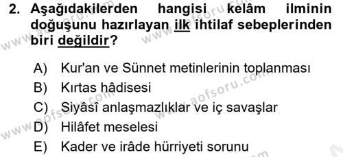 Kelam´a Giriş Dersi 2017 - 2018 Yılı (Final) Dönem Sonu Sınav Soruları 2. Soru