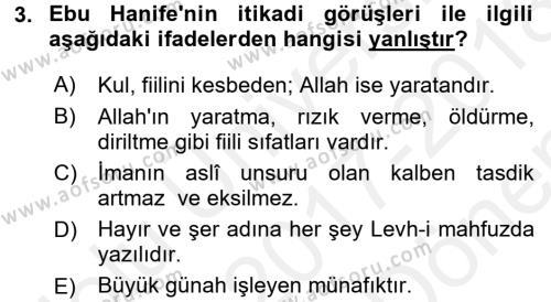 Kelam´a Giriş Dersi 2017 - 2018 Yılı (Final) Dönem Sonu Sınav Soruları 3. Soru