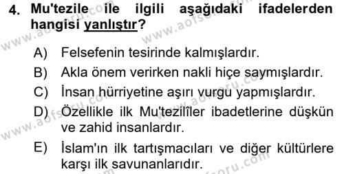 Kelam´a Giriş Dersi 2017 - 2018 Yılı (Final) Dönem Sonu Sınav Soruları 4. Soru