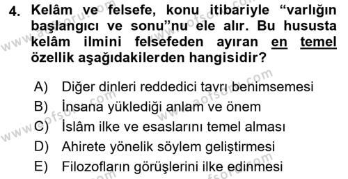Kelam´a Giriş Dersi 2018 - 2019 Yılı (Vize) Ara Sınav Soruları 4. Soru