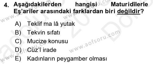 Kelam´a Giriş Dersi 2018 - 2019 Yılı (Final) Dönem Sonu Sınav Soruları 4. Soru
