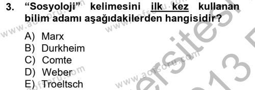Din Sosyolojisi Dersi 2012 - 2013 Yılı (Vize) Ara Sınav Soruları 3. Soru