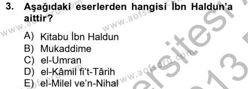 Din Sosyolojisi Dersi 2012 - 2013 Yılı (Final) Dönem Sonu Sınav Soruları 3. Soru