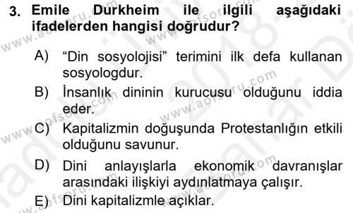 Din Sosyolojisi Dersi 2018 - 2019 Yılı (Vize) Ara Sınav Soruları 3. Soru