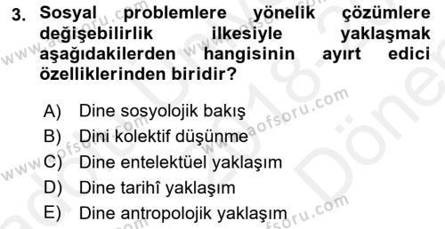 Din Sosyolojisi Dersi 2018 - 2019 Yılı (Final) Dönem Sonu Sınav Soruları 3. Soru
