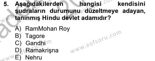 İlahiyat Bölümü 4. Yarıyıl Yaşayan Dünya Dinleri Dersi 2013 Yılı Bahar Dönemi Ara Sınavı 5. Soru