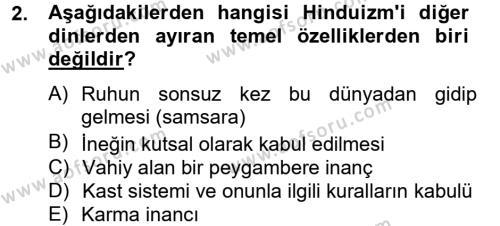İlahiyat Bölümü 4. Yarıyıl Yaşayan Dünya Dinleri Dersi 2013 Yılı Bahar Dönemi Dönem Sonu Sınavı 2. Soru