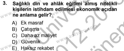 Din Eğitimi ve Din Hizmetlerinde Rehberlik Dersi 2012 - 2013 Yılı (Final) Dönem Sonu Sınav Soruları 3. Soru