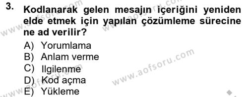 Halkla İlişkiler Ve İletişim Dersi 2012 - 2013 Yılı Ara Sınavı 3. Soru