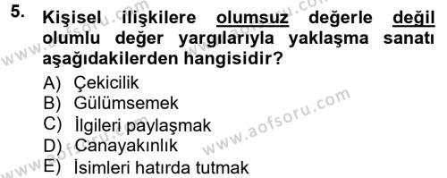 Adalet Bölümü 1. Yarıyıl Halkla İlişkiler Ve İletişim Dersi 2013 Yılı Güz Dönemi Dönem Sonu Sınavı 5. Soru