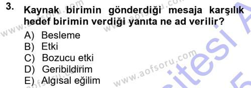 Halkla İlişkiler Ve İletişim Dersi 2014 - 2015 Yılı Ara Sınavı 3. Soru