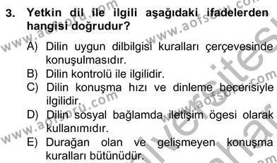 Sözlü ve Sözsüz İletişim Dersi 2012 - 2013 Yılı Ara Sınavı 3. Soru