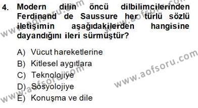 Sözlü ve Sözsüz İletişim Dersi 2014 - 2015 Yılı Ara Sınavı 4. Soru