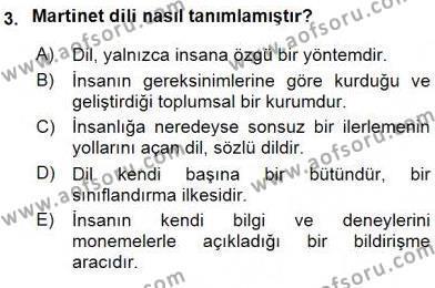 Sözlü ve Sözsüz İletişim Dersi 2015 - 2016 Yılı Ara Sınavı 3. Soru
