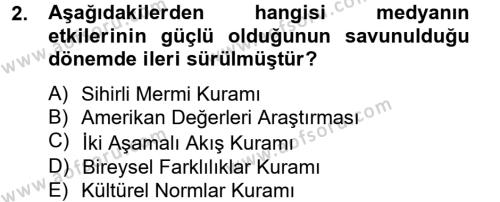 İletişim Kuramları Dersi 2012 - 2013 Yılı (Final) Dönem Sonu Sınav Soruları 2. Soru