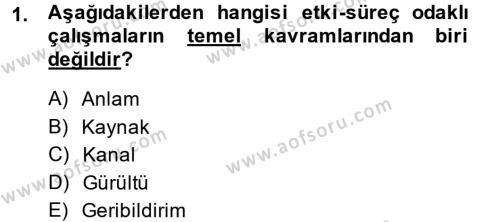 İletişim Kuramları Dersi 2013 - 2014 Yılı (Final) Dönem Sonu Sınav Soruları 1. Soru