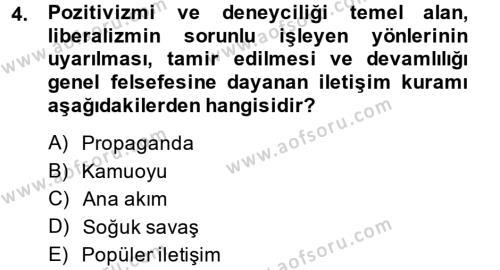 Medya ve İletişim Bölümü 2. Yarıyıl İletişim Kuramları Dersi 2014 Yılı Bahar Dönemi Dönem Sonu Sınavı 4. Soru