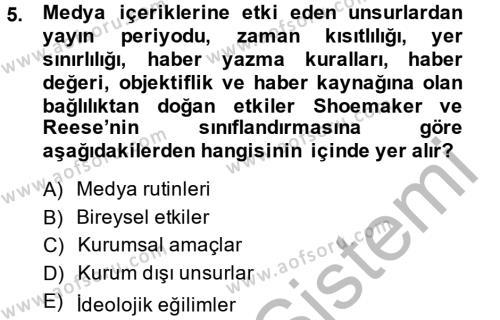 Medya ve İletişim Bölümü 2. Yarıyıl İletişim Kuramları Dersi 2014 Yılı Bahar Dönemi Dönem Sonu Sınavı 5. Soru