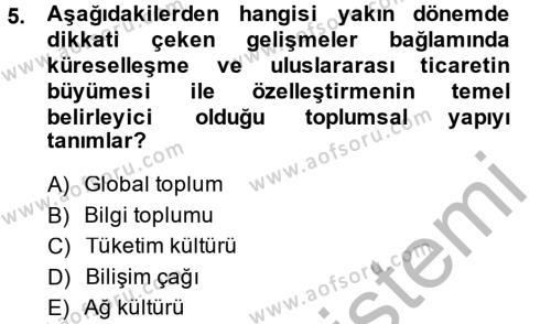 Medya ve İletişim Bölümü 2. Yarıyıl İletişim Kuramları Dersi 2015 Yılı Bahar Dönemi Ara Sınavı 5. Soru