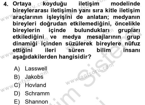 İletişim Kuramları Dersi 2015 - 2016 Yılı (Final) Dönem Sonu Sınav Soruları 4. Soru