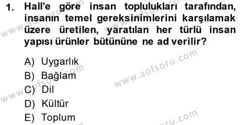 Kültürlerarası İletişim Dersi 2013 - 2014 Yılı Ara Sınavı 1. Soru