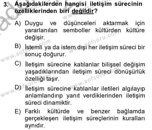 Kültürlerarası İletişim Dersi 2013 - 2014 Yılı Ara Sınavı 3. Soru