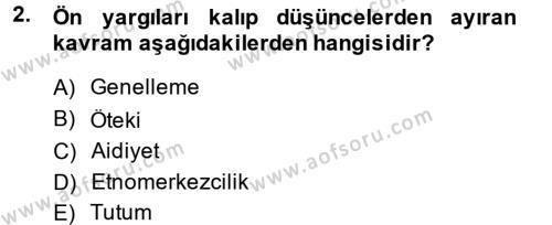 Kültürlerarası İletişim Dersi 2013 - 2014 Yılı Dönem Sonu Sınavı 2. Soru