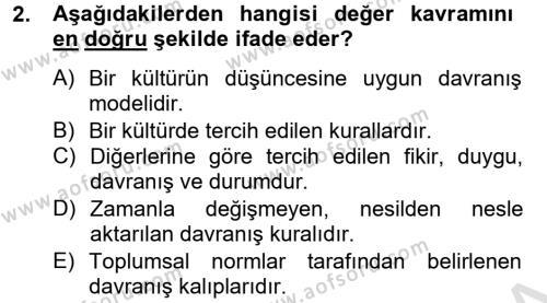 Konaklama İşletmeciliği Bölümü 8. Yarıyıl Kültürlerarası İletişim Dersi 2014 Yılı Bahar Dönemi Tek Ders Sınavı 2. Soru