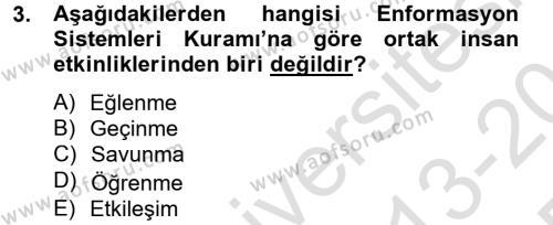 Kültürlerarası İletişim Dersi 2013 - 2014 Yılı Tek Ders Sınavı 3. Soru