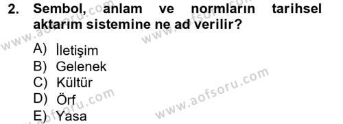 Konaklama İşletmeciliği Bölümü 8. Yarıyıl Kültürlerarası İletişim Dersi 2015 Yılı Bahar Dönemi Ara Sınavı 2. Soru