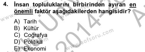 Konaklama İşletmeciliği Bölümü 8. Yarıyıl Kültürlerarası İletişim Dersi 2015 Yılı Bahar Dönemi Ara Sınavı 4. Soru