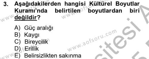 Konaklama İşletmeciliği Bölümü 8. Yarıyıl Kültürlerarası İletişim Dersi 2015 Yılı Bahar Dönemi Dönem Sonu Sınavı 3. Soru