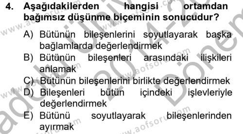Kültürlerarası İletişim Dersi 2014 - 2015 Yılı Dönem Sonu Sınavı 4. Soru