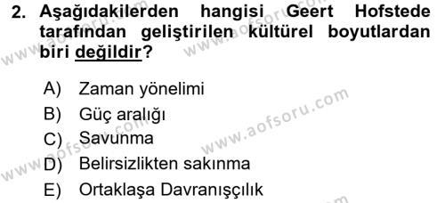 Kültürel Miras ve Turizm Bölümü 4. Yarıyıl Kültürlerarası İletişim Dersi 2016 Yılı Bahar Dönemi Ara Sınavı 2. Soru