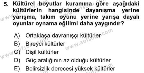 Kültürel Miras ve Turizm Bölümü 4. Yarıyıl Kültürlerarası İletişim Dersi 2016 Yılı Bahar Dönemi Ara Sınavı 5. Soru
