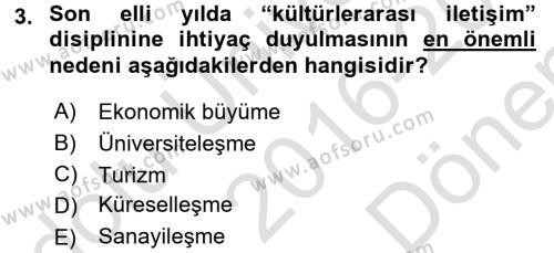 Kültürlerarası İletişim Dersi 2016 - 2017 Yılı (Final) Dönem Sonu Sınav Soruları 3. Soru