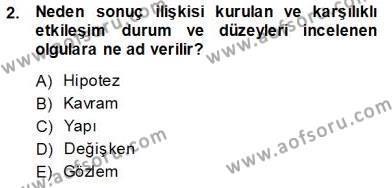 Halkla İlişkiler ve Reklamcılık Bölümü 3. Yarıyıl İletişim Araştırmaları Dersi 2014 Yılı Güz Dönemi Ara Sınavı 2. Soru