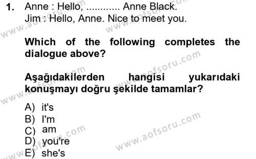 Ingilizce 1 Dersi 2013 - 2014 Yılı Ara Sınavı 1. Soru