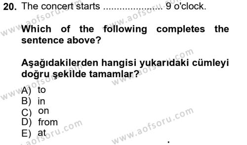 Ingilizce 1 Dersi 2013 - 2014 Yılı (Vize) Ara Sınavı 20. Soru