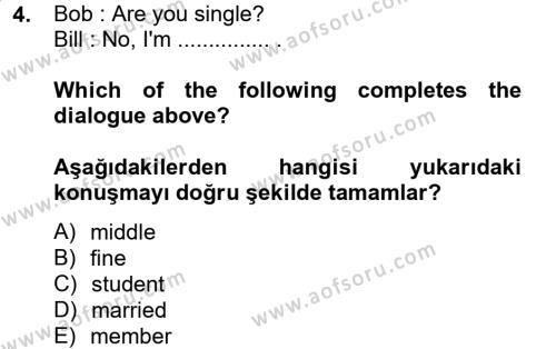 Ingilizce 1 Dersi 2013 - 2014 Yılı (Vize) Ara Sınavı 4. Soru