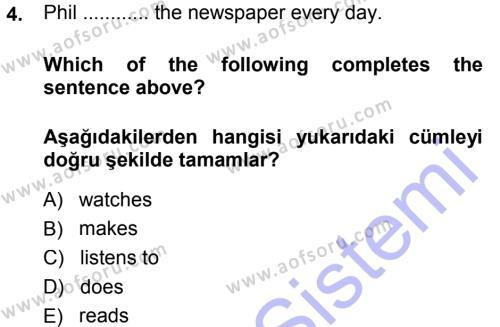 Ingilizce 1 Dersi 2013 - 2014 Yılı Dönem Sonu Sınavı 4. Soru