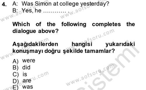 Ingilizce 1 Dersi 2014 - 2015 Yılı Tek Ders Sınavı 4. Soru