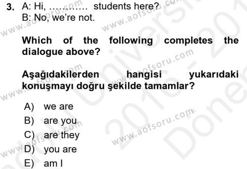 Ingilizce 1 Dersi 2016 - 2017 Yılı Dönem Sonu Sınavı 3. Soru