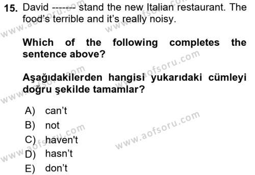 Ingilizce 1 Dersi Ara Sınavı Deneme Sınav Soruları 15. Soru