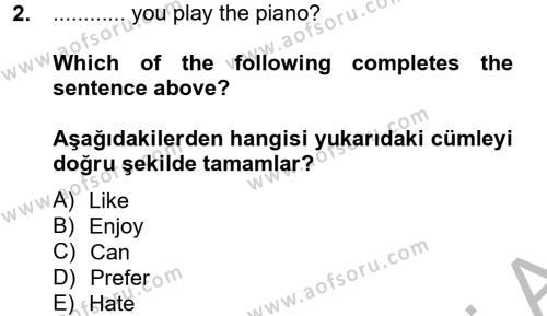 Spor Yönetimi Bölümü 2. Yarıyıl Ingilizce II Dersi 2013 Yılı Bahar Dönemi Ara Sınavı 2. Soru