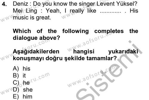 Ingilizce 2 Dersi 2013 - 2014 Yılı (Vize) Ara Sınavı 4. Soru