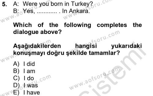 Yerel Yönetimler Bölümü 2. Yarıyıl Ingilizce II Dersi 2014 Yılı Bahar Dönemi Tek Ders Sınavı 5. Soru