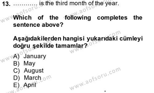 Ingilizce 2 Dersi Ara Sınavı Deneme Sınav Soruları 13. Soru